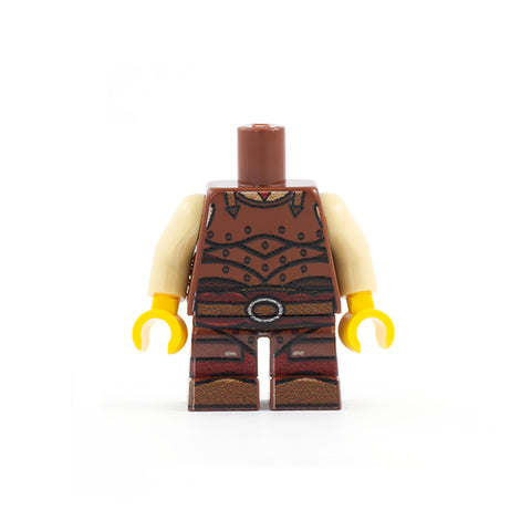 Fighter Outfit with Leather Armour (Short Legs) - Custom Design LEGO Minifigure Legs and Torso