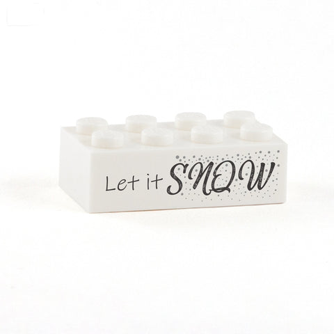 Let it Snow Display Brick - Custom Printed 2x4 LEGO Brick, Minifigure Display
