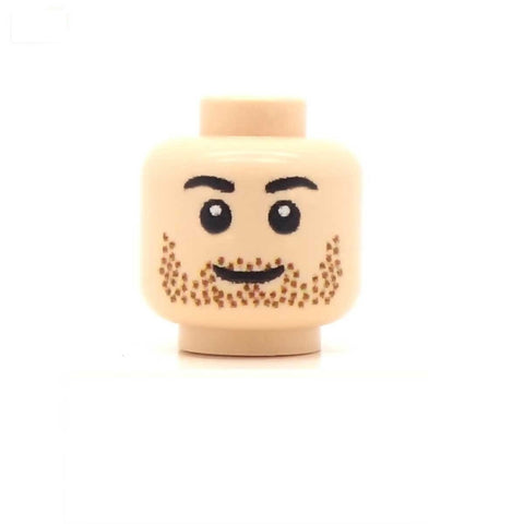 Head with Brown Stubble (Light Flesh) Custom Printed LEGO Minifigure Head