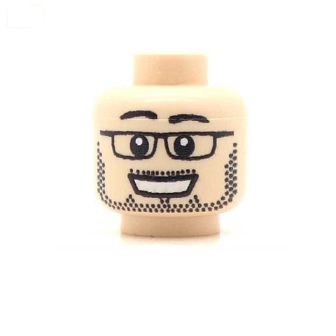 Large Smile, Beard and Glasses (Light Flesh) Custom Printed LEGO Minifigure Head