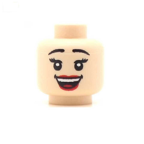 Cheerful Smile Female (Light Flesh) Custom Printed LEGO Minifigure Head
