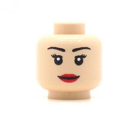 Female Long Eyelashes Full Lips (Light Flesh) Custom Printed LEGO Minifigure Head