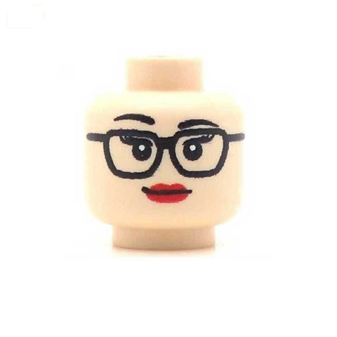Studious Square Glasses Female (Light Flesh) Custom Printed LEGO Minifigure Head