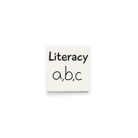 Literacy (Spare Activity Tile for Visual Timetable) - CUSTOM DESIGN LEGO TILE