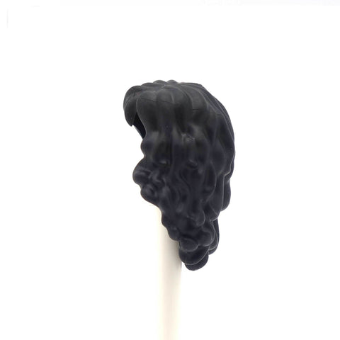 Long Black LEGO Minifig Hair with Curls and Side Fringe