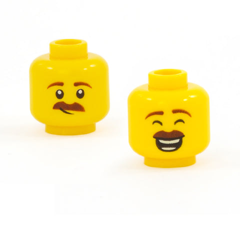 Smirking / Laughing Moustache Face (Double Sided) - LEGO Minifigure Head