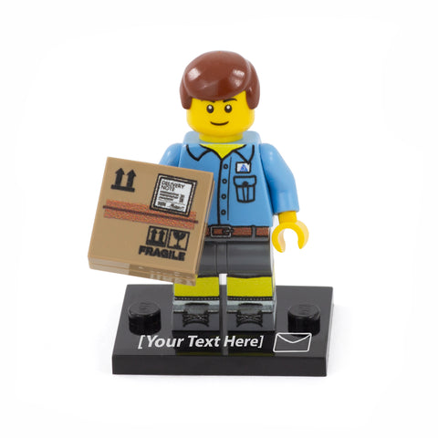 Personalised Mail Carrier Minifigure (No Hair) - Custom Design LEGO Minifigure