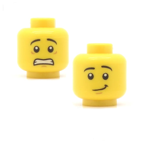 Male Scared and Tired / Wry Smile (Double Sided) - LEGO Minifigure Head