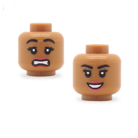 Scared / Female Open Smile, Pale Lips (Medium Flesh Double Sided) - Custom Printed Minifigure Head
