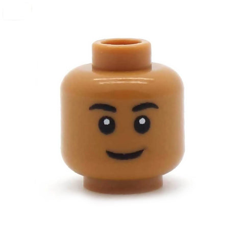 Regular Closed Smile (Medium Flesh) - Custom Printed LEGO Minifigure Head