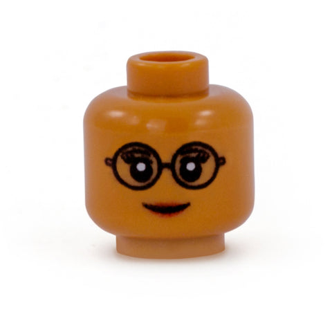 Female Head with Round Glasses (Medium Flesh Skin Tone) - Custom Printed LEGO Minifigure Head