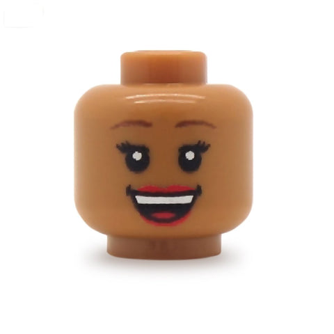 Cheerful Smile Female (Medium Flesh) - Custom Printed LEGO Minifigure Head