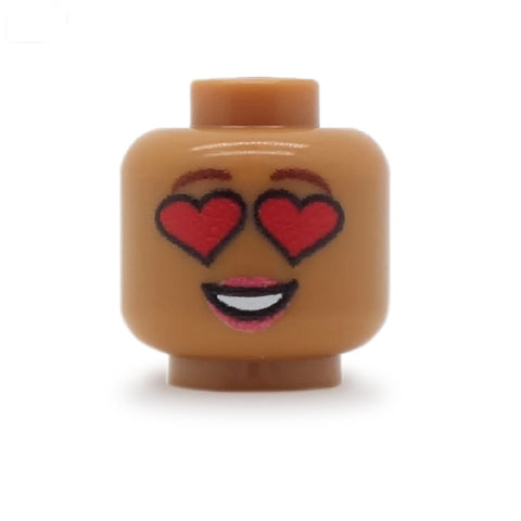 Heart Eyes Female (Medium Flesh) - Custom Printed LEGO Minifigure Head