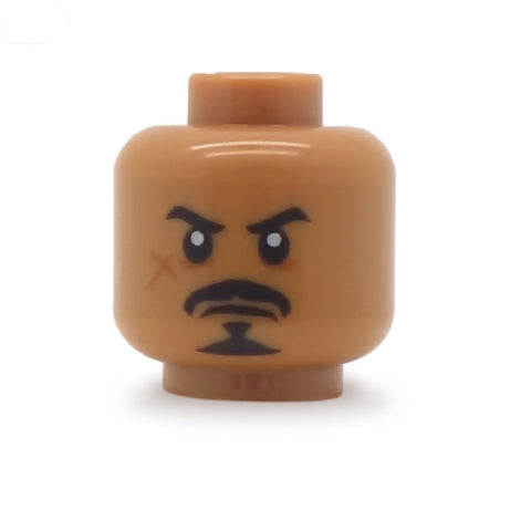 Grumpy Face with Balbo Beard and Scar (Medium Flesh) - Custom Printed LEGO Minifigure Head