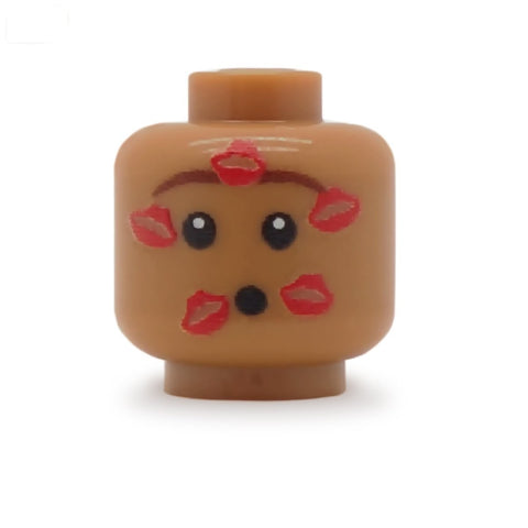 Lipstick Kisses on Face (Medium Flesh) - Custom Printed LEGO Minifigure Head
