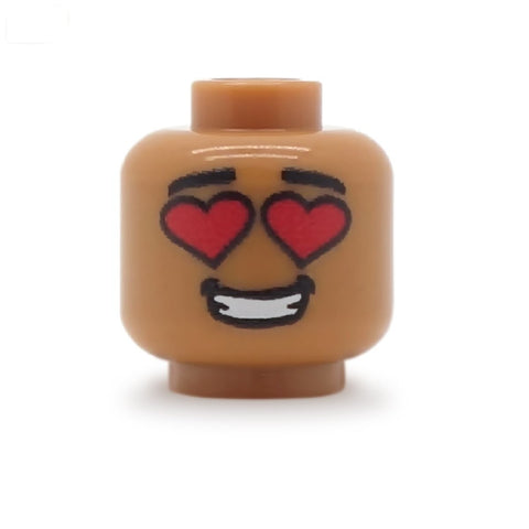 Heart Eyes Male (Medium Flesh) - Custom Printed LEGO Minifigure Head