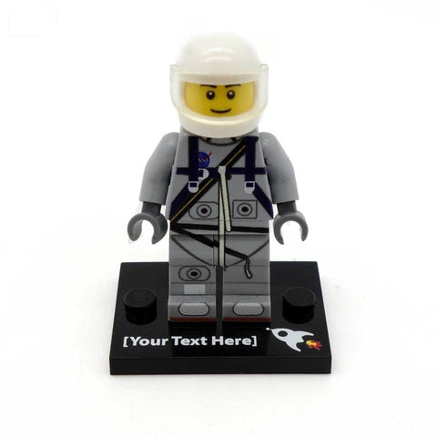 Personalised Light Grey Mercury Astronaut Custom Printed LEGO Minifigure