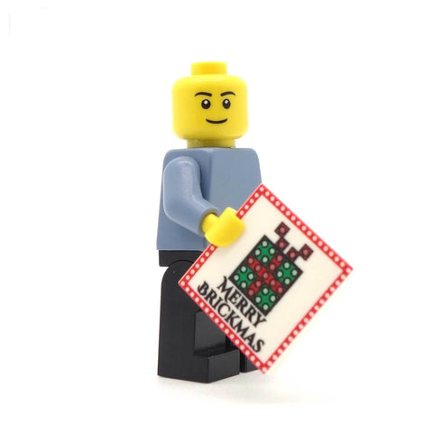 Merry Brickmas Christmas Card - Custom LEGO Tile
