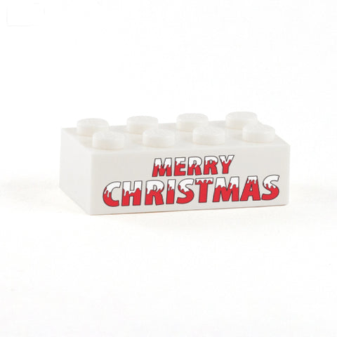 Merry Christmas Display Brick - Custom Printed 2x4 LEGO Brick