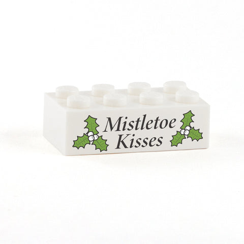 Mistletoe Kisses Display Brick - Custom Printed 2x4 LEGO Brick