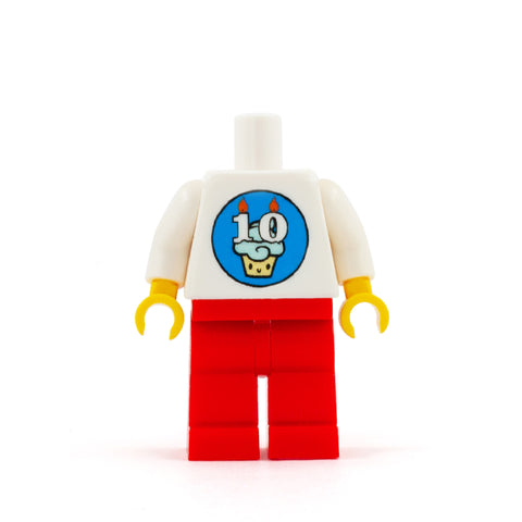 Personalised Minifigure with Customisable Birthday Cake Design - Custom Design Minifigure