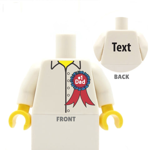 #1 Dad Shirt with Rosette - Custom Design Minifigure Torso