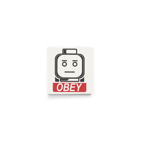 Obey Poster - Custom Design LEGO tile with minifigure head