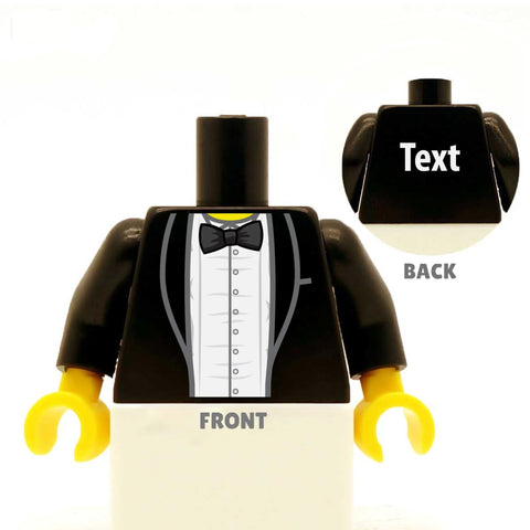 custom designed lego minifigure torso, open tuxedo and bowtie for wedding, groom, best man or usher