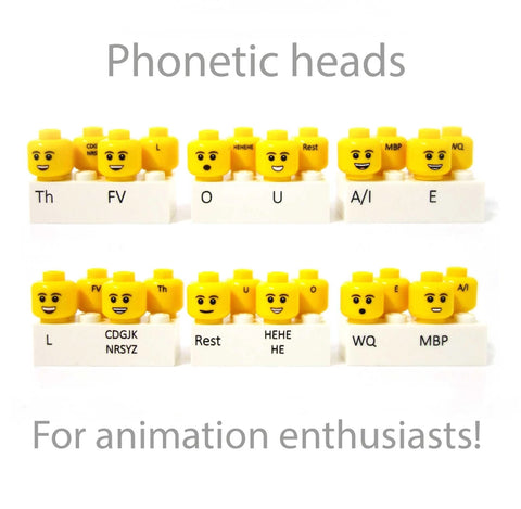 Phonetic Custom Printed LEGO Heads for Animation (Flesh or Yellow)