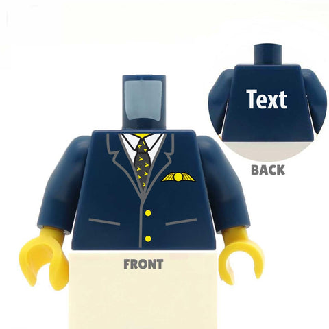 Pilot's Uniform (Various Colours)  - Custom Designed LEGO Minifigure Torso