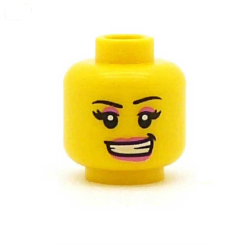 Grinning Pretty Pink Make Up LEGO Minifigure Head