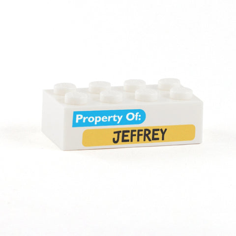 Property of .... Display Brick - Custom Printed 2x4 LEGO Brick