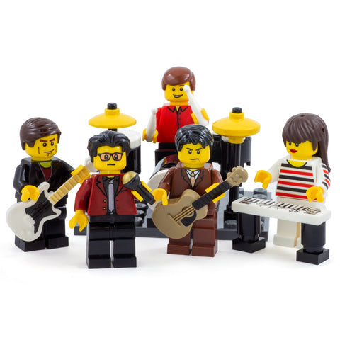 Common People, Jarvis Cocker and Pulp with their instruments - Custom Design LEGO Minifigure Set
