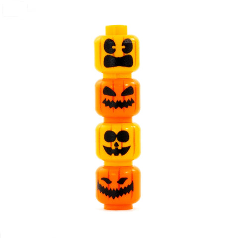 Set of 4 Carved Pumpkins - Custom Printed LEGO Minifigure Heads