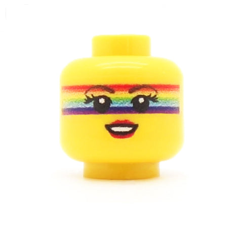 Rainbow Festival Face, Long Lashes and Lipstick - Custom Printed LEGO Minifigure Head
