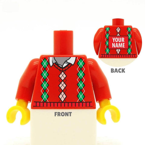 Red Diamond Pattern Christmas Jumper Custom LEGO Minifig Minifigure Personalised Torso
