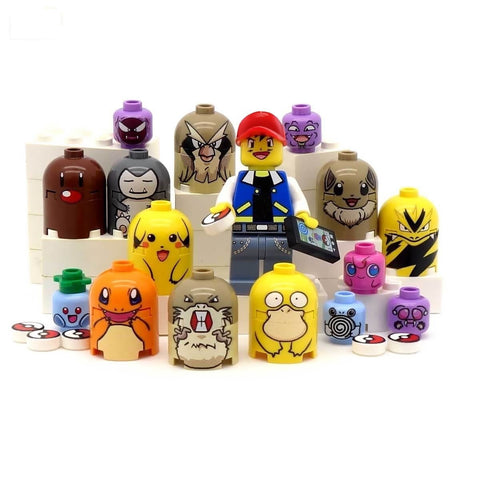 Catch 'Em Pokemon Mastery Set of Awesomeness - Custom LEGO Minifigure, Brickfigs and Tiles