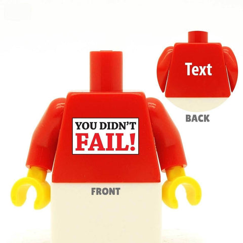 You Didn't Fail custom lego minifigure torso graduation gift passed exams