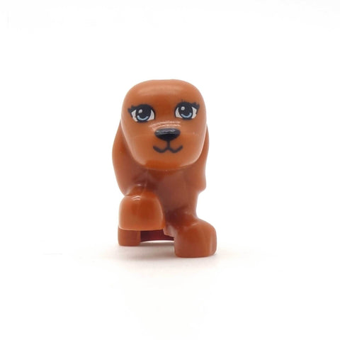 Reddish Brown Little LEGO Dog (with Long Ears and Raised Paw)