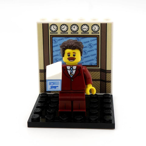 Moustached News Anchor - Custom Design Minifigure and Display Panel