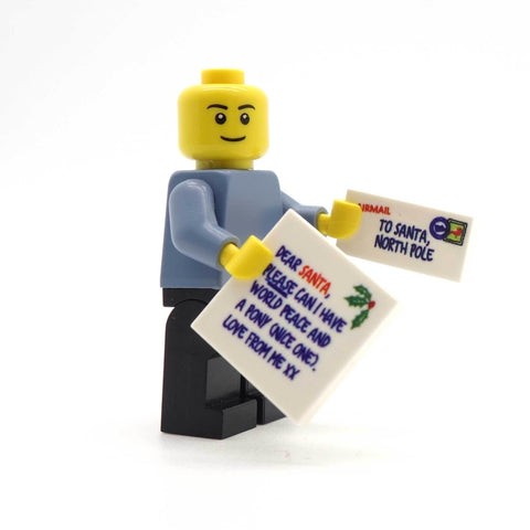 Letter to Santa and Envelope - Custom Designed LEGO Tile Set