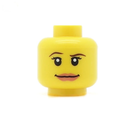 Female Head with Raised Eyebrow and Wide Sassy Smile - LEGO Minifigure Head