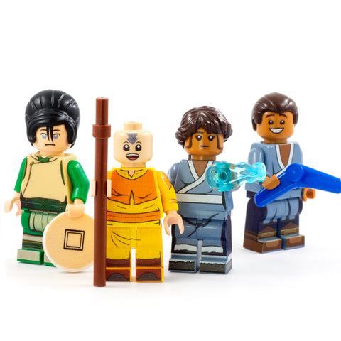 Aang, Katara, Sokka and Toph, Element Bender Gang - Custom Design Minifigure Set