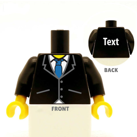 Sharp Buttoned Up Suit With Tie (Various Colours), - Custom Designed LEGO Minifigure Torso