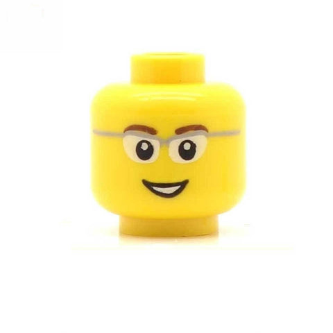 Grey Rimless Glasses Open Smile LEGO Minifigure Head