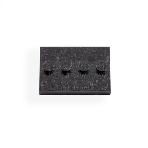 Embossed Floral Baseplate in Black - Custom Printed LEGO Baseplate