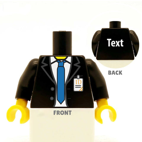 Suit (Various Colours), Tie and ID Badge - Custom Designed LEGO Minifigure Torso