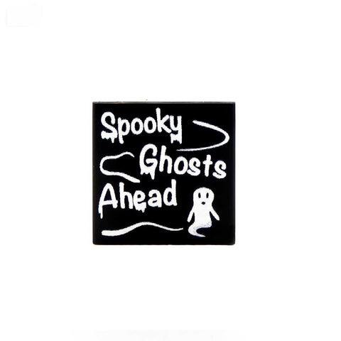 Spooky Ghost Ahead Tile - Custom Printed LEGO Tiles and LEGO Accessories