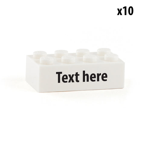 10 Identical custom design 2x4 bricks with a image, name or message (Choice of fonts)