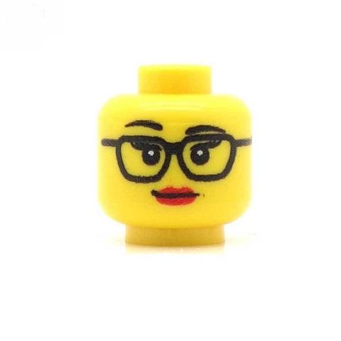 Studious Square Glasses Female Custom Printed LEGO Minifigure Head